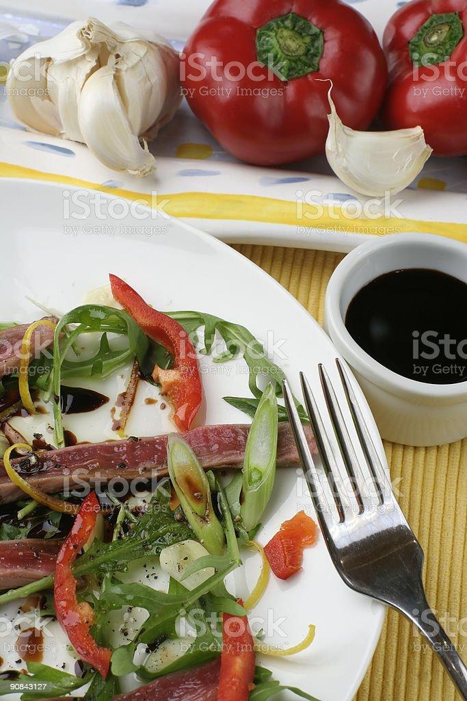 Beef carpaccio; above close crop royalty-free stock photo