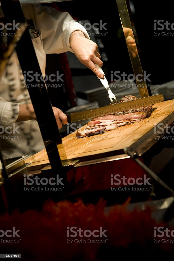 beef carving station stock photo