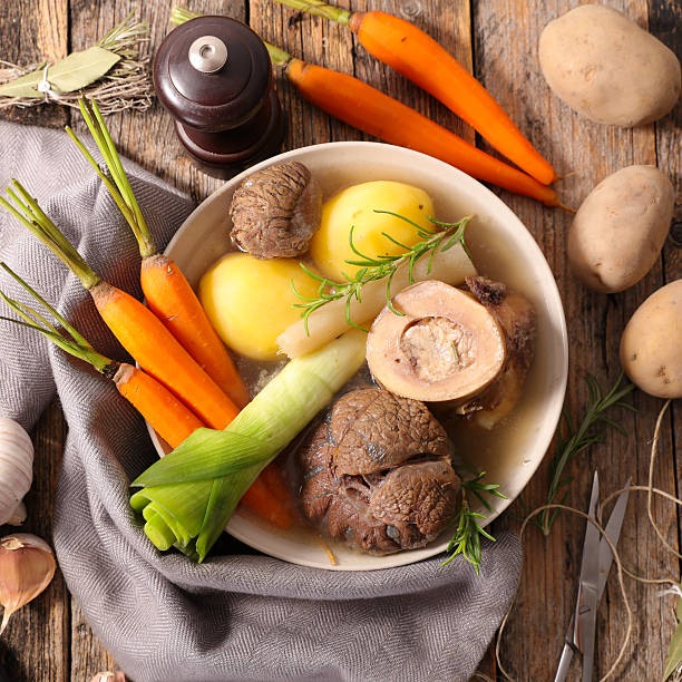 beef cooked with carrot, potato and leek beef cooked with carrot, potato and leek pot au feu stock pictures, royalty-free photos & images