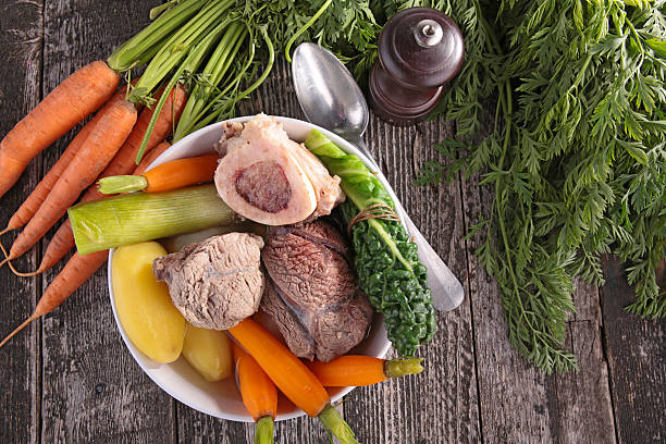 beef cooked with vegetable beef cooked with vegetable pot au feu stock pictures, royalty-free photos & images