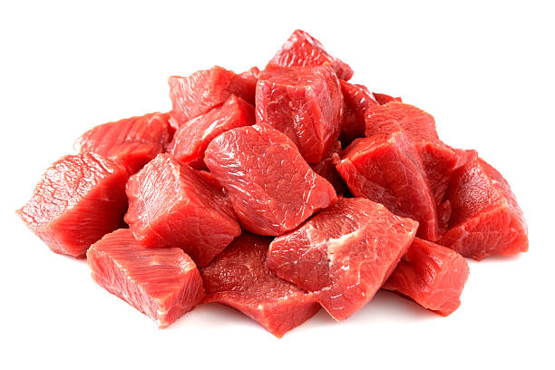 Beef cubes Diced meat on white background ragout stock pictures, royalty-free photos & images