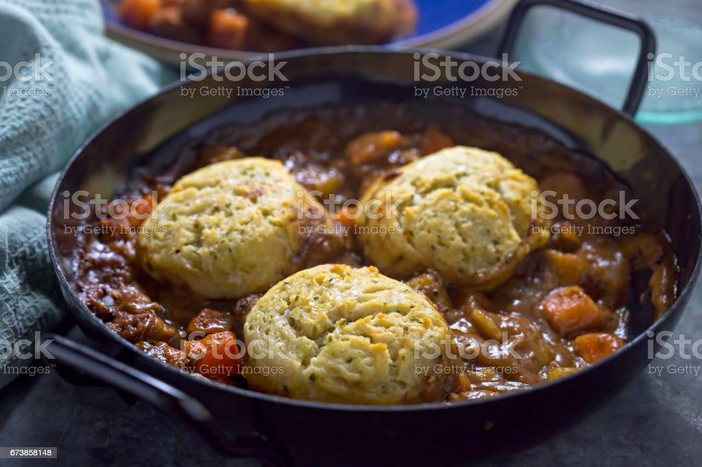 Beef dumpling casserole stock photo