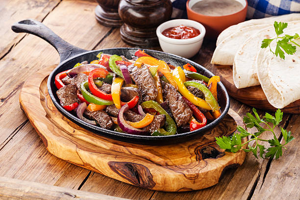 beef fajitas - mexican food stock photos and pictures