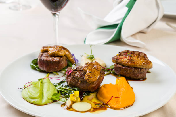 beef filets with foie gras stock photo