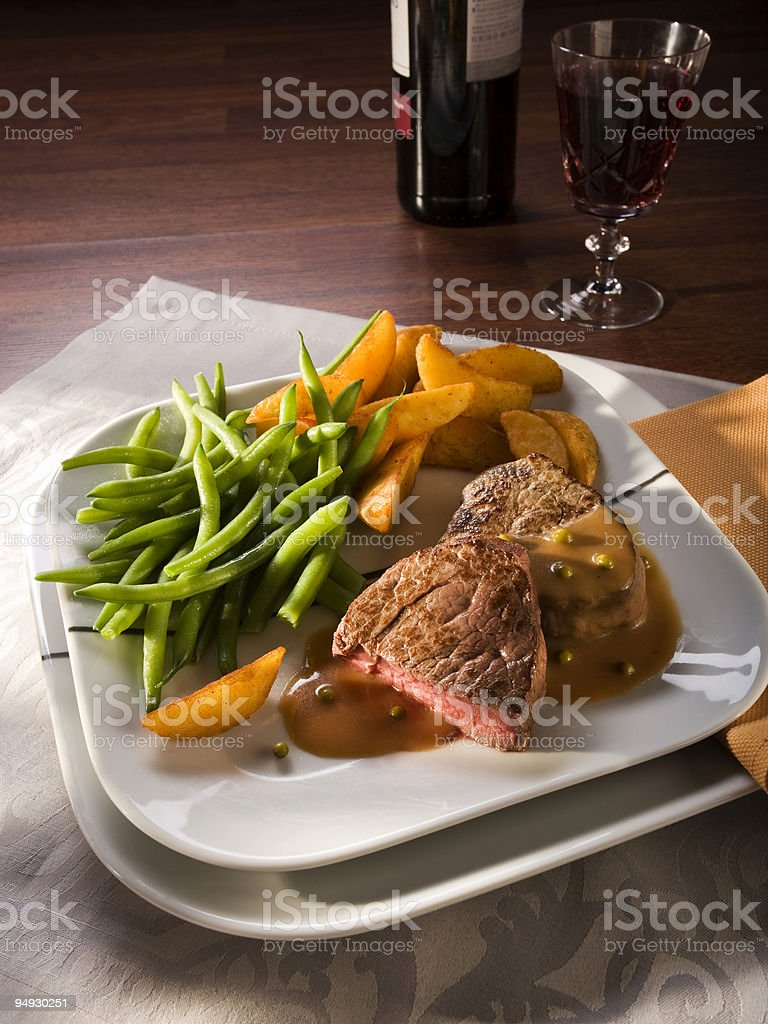 beef fillet meal stock photo