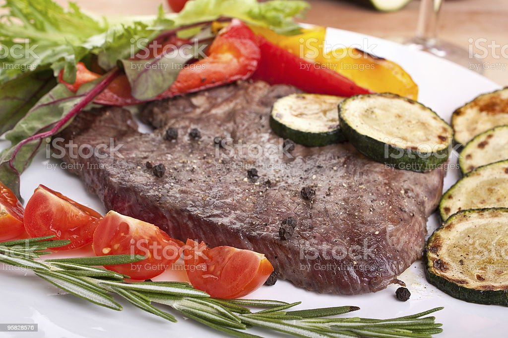beef fillet steak with vegetables royalty-free stock photo