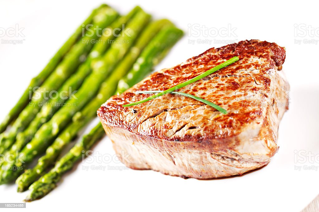 Beef fillet with asparagus royalty-free stock photo