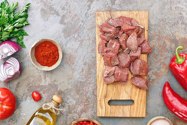 Beef for goulash stock photo