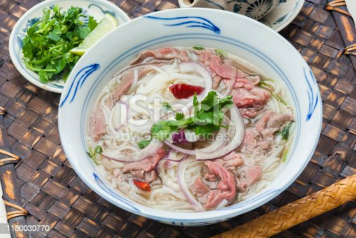 Fou is soup noodle using noodle made with rice, Vietnamese food. This is using beef.