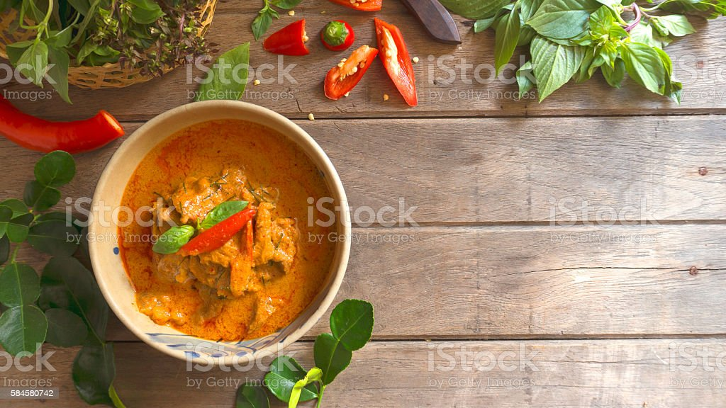 Beef in ground peanut-coconut cream curry stock photo