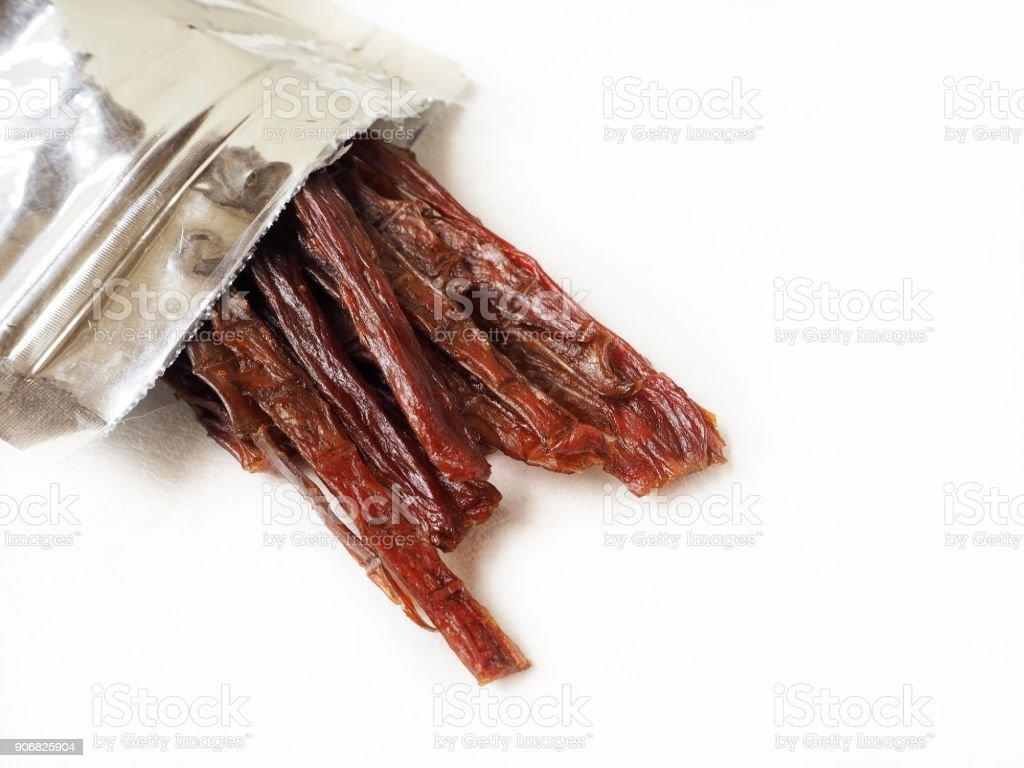 Beef jerky isolated stock photo