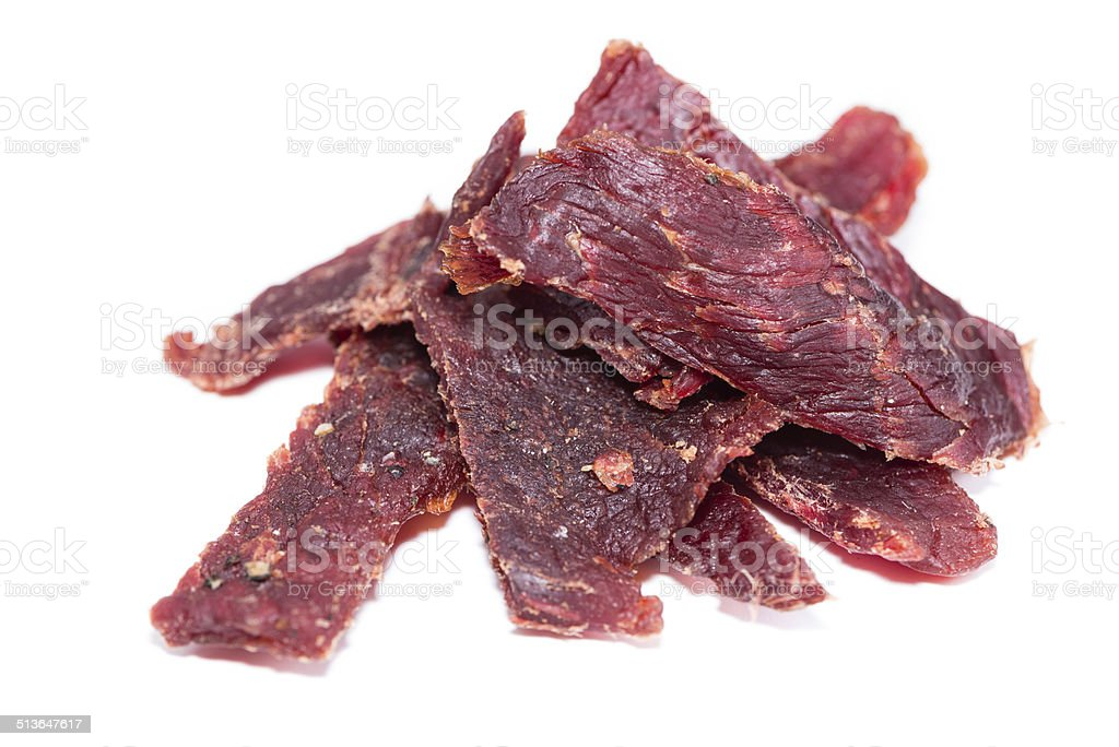Beef Jerky over white stock photo