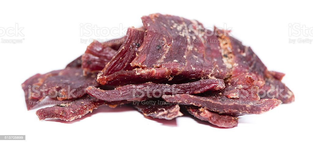 Beef Jerky over white stock photo
