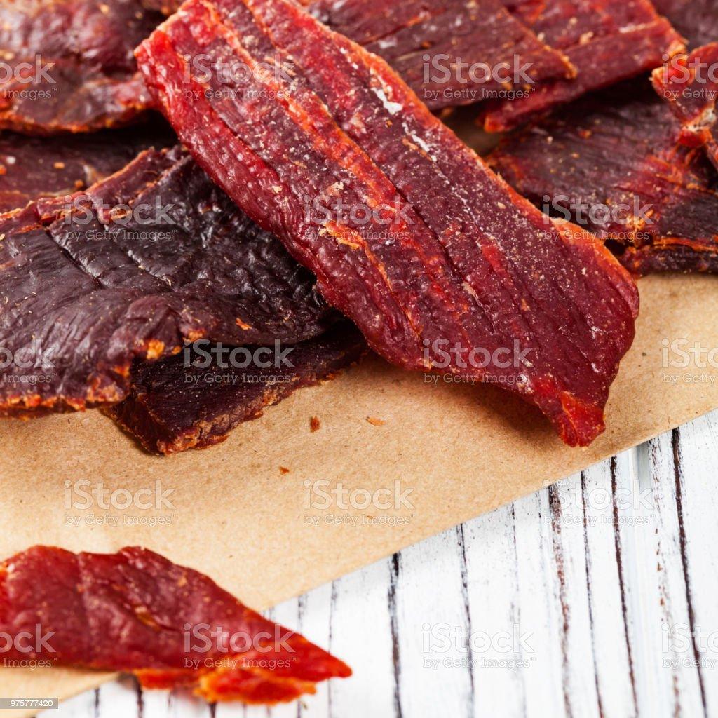 Beef Jerky (Trockenfleisch) - Lizenzfrei Abnehmen Stock-Foto