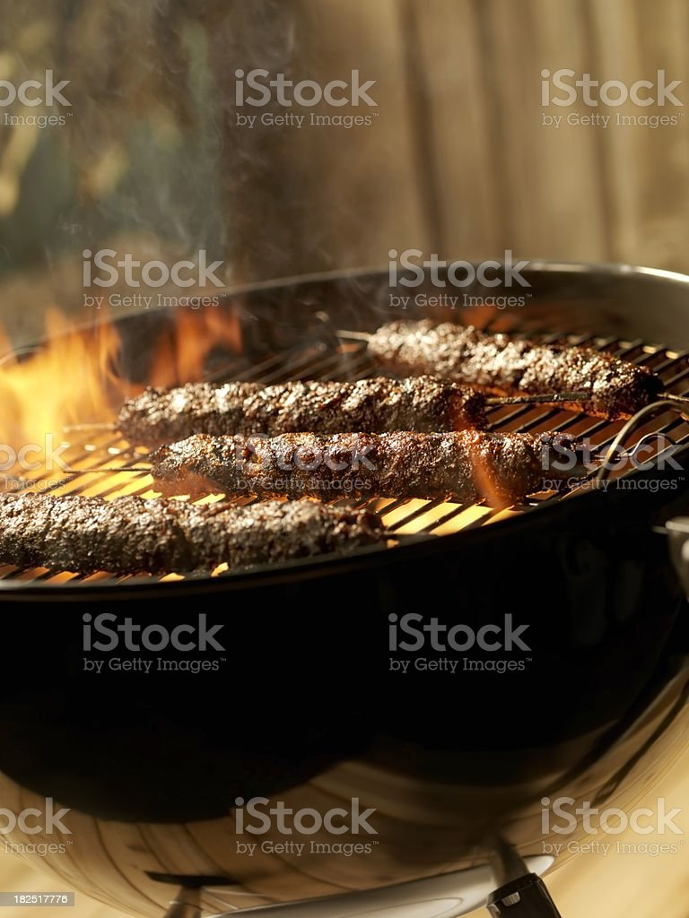 Beef Kabobs on a Charcoal BBQ royalty-free stock photo