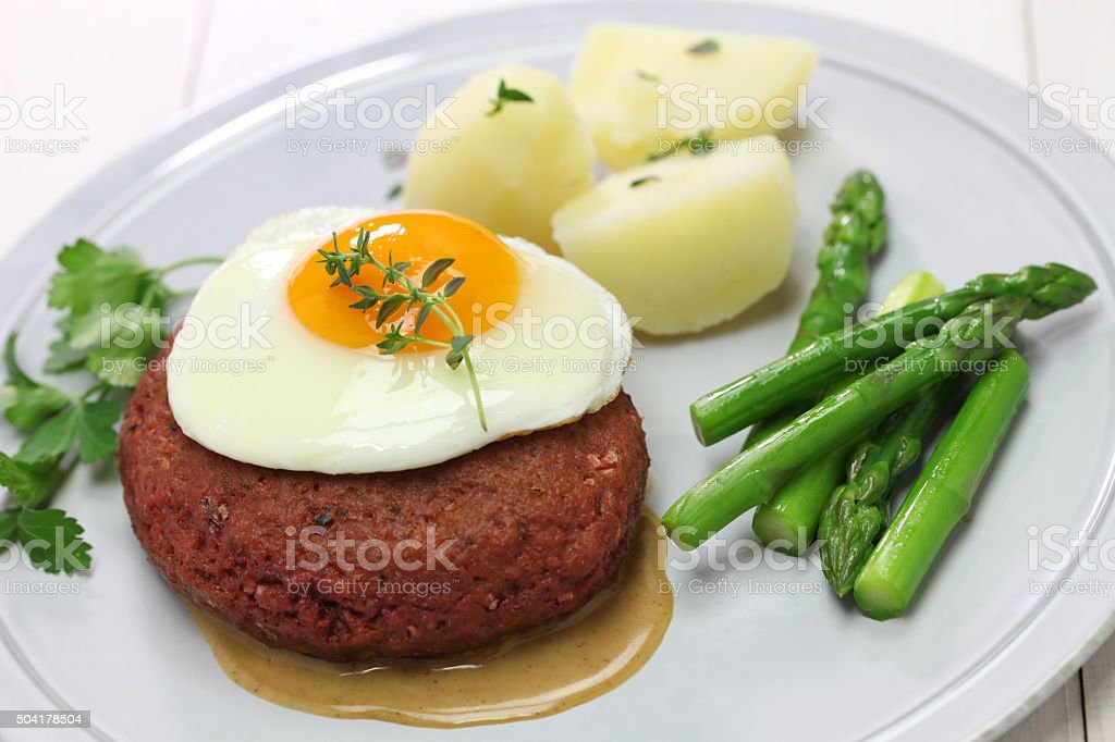 beef lindstrom, swedish red beef patty stock photo