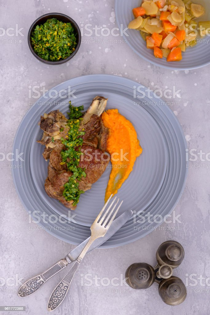 Beef meat and potato with glamorata and vegetables stock photo