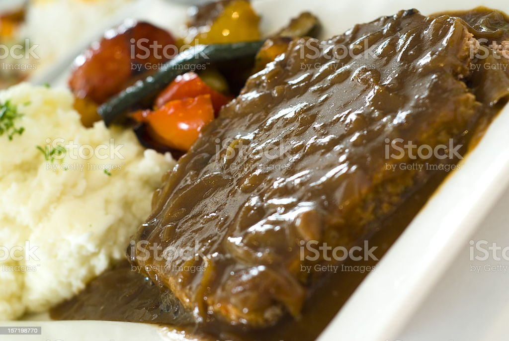 Beef Meat Loaf Dinner, Salisbury Steak & Gravy, Vegetables & Mashed Potatoes stock photo
