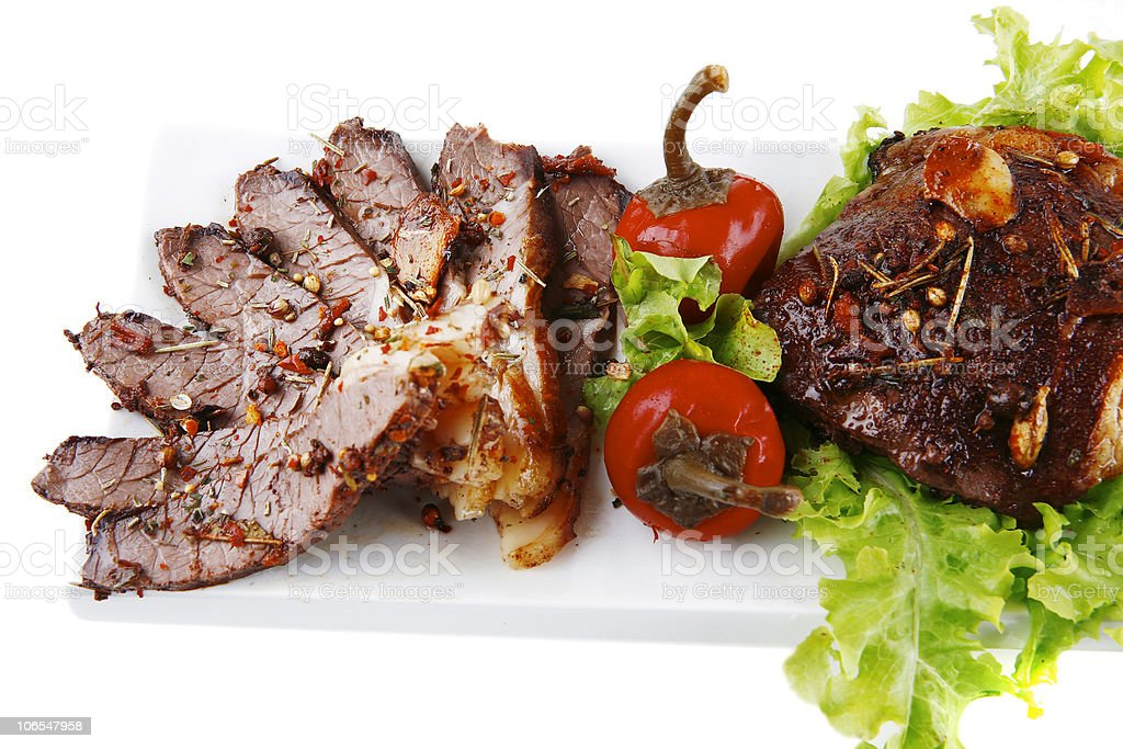 beef meat slice on plate royalty-free stock photo