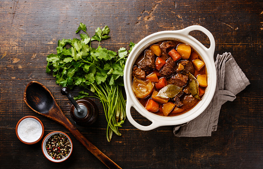 Beef Meat Stewed With Potatoes In Pot Stock Photo - Download Image Now