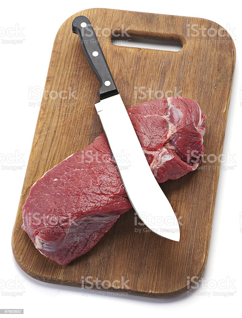 Beef meat with knife royalty-free stock photo