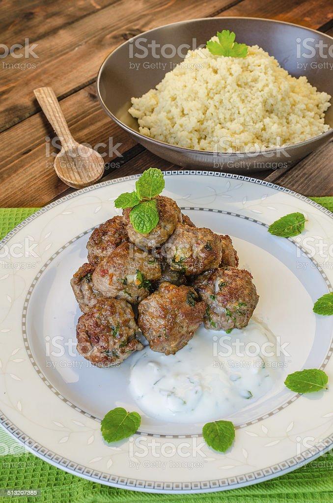Beef meatballs with cilantro stock photo
