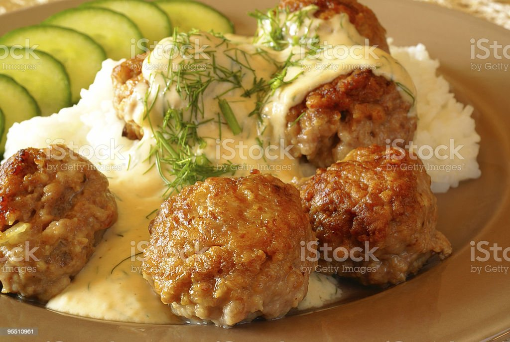 Beef meatballs with white dill sauce royalty-free stock photo