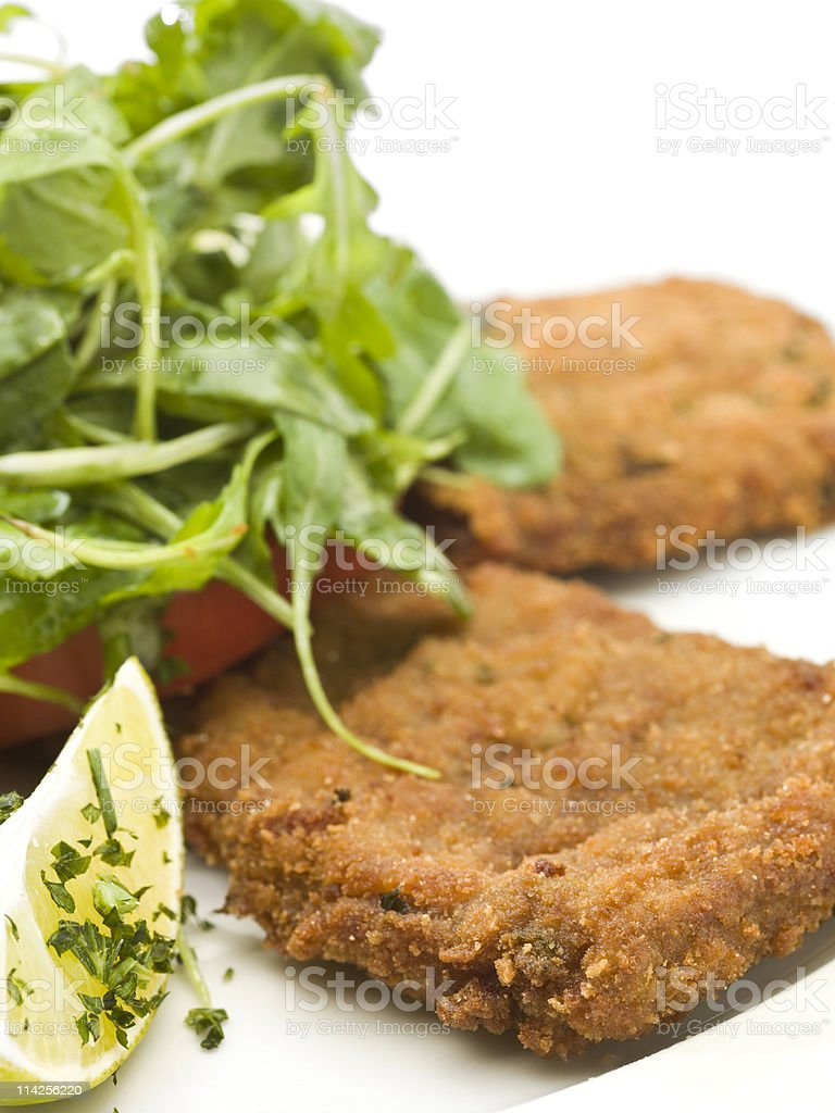 Beef Milanese with Salad stock photo