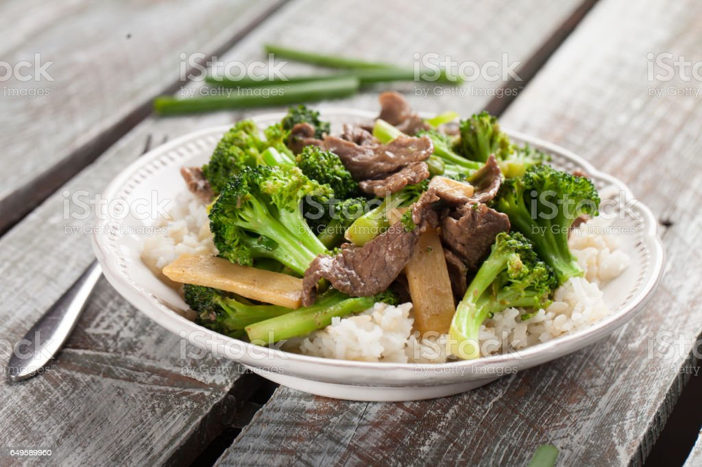 Beef N' Broccoli Stir Fry horizontal shot stock photo