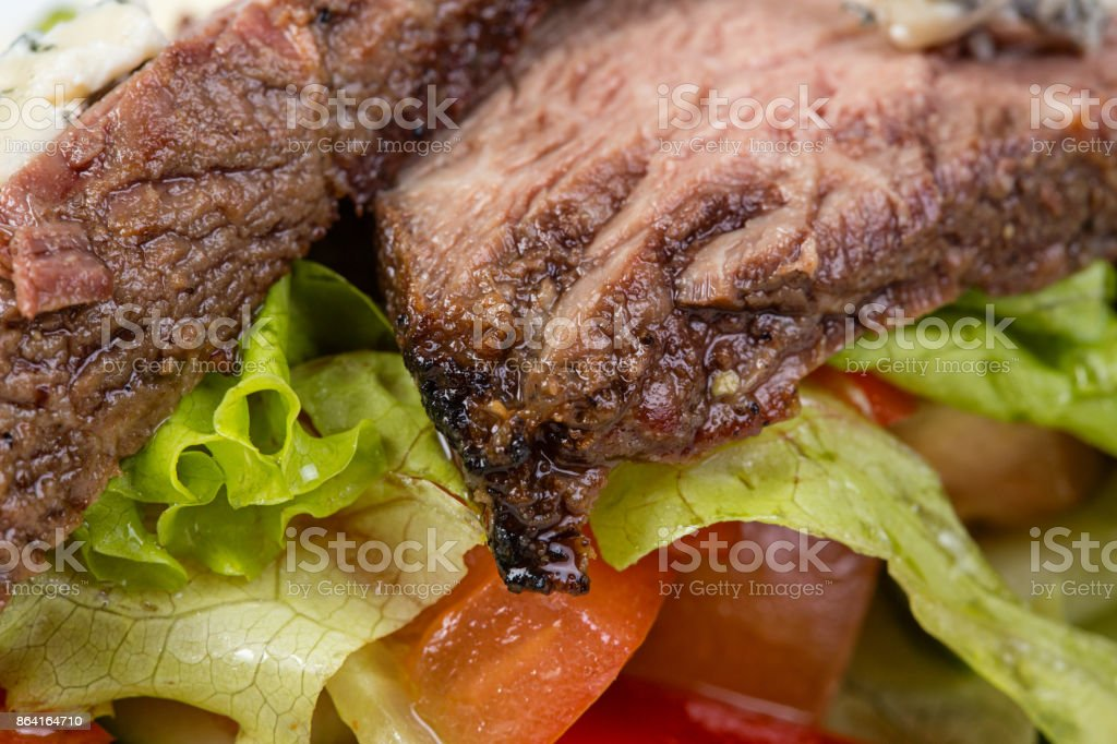 Beef of medium rare with vegetables royalty-free stock photo