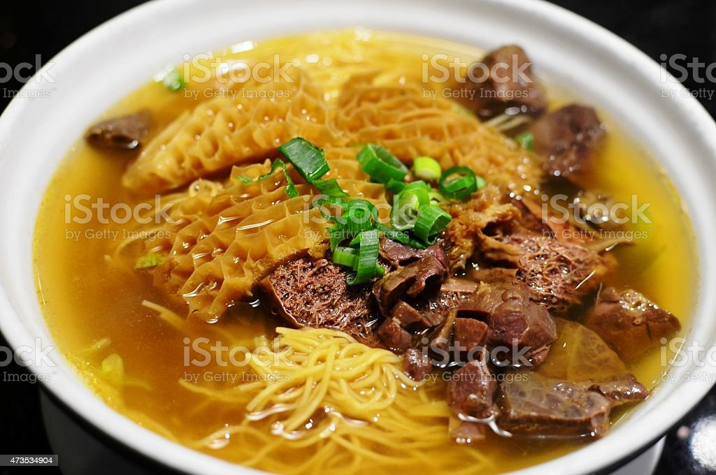 Beef offal with noodles stock photo