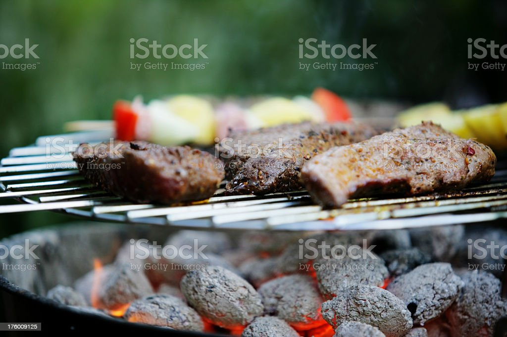 Beef on bbq grill royalty-free stock photo