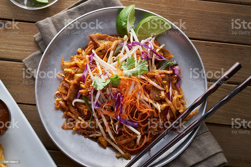 beef pad thai shot from overhead view stock photo