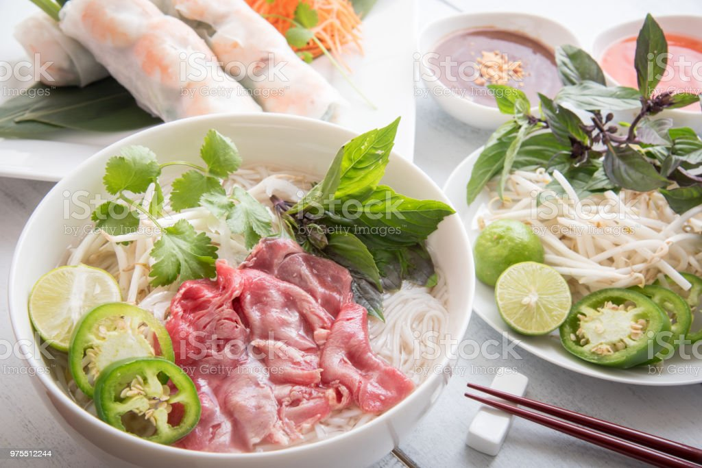 beef pho with summer roll stock photo