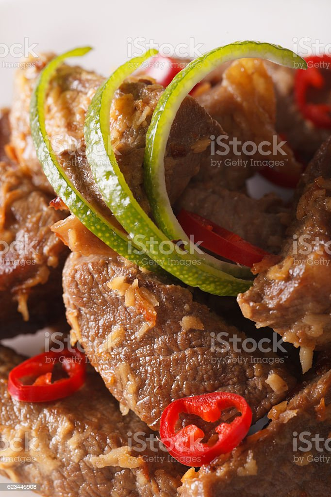 Beef rendang with coconut and spices macro. vertical stock photo