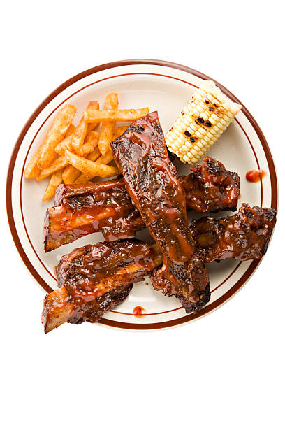 beef rib dinner - rib voedsel stockfoto's en -beelden
