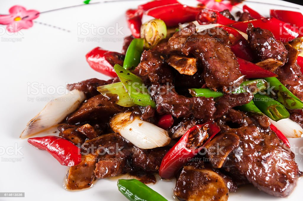 Beef Ribs with Black Peppe,Chinese dinner stock photo