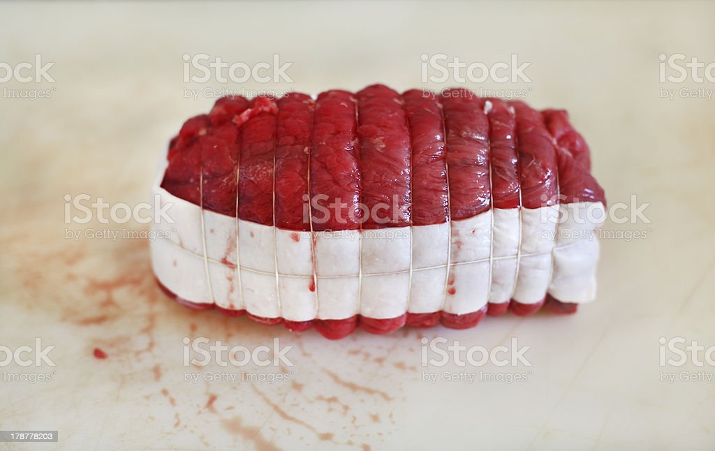 Beef roast, french classic, raw meat royalty-free stock photo