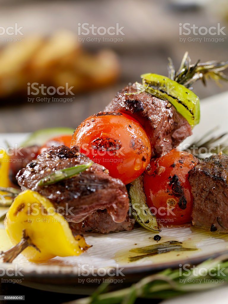 Beef, Rosemary Vegetable Skewers stock photo