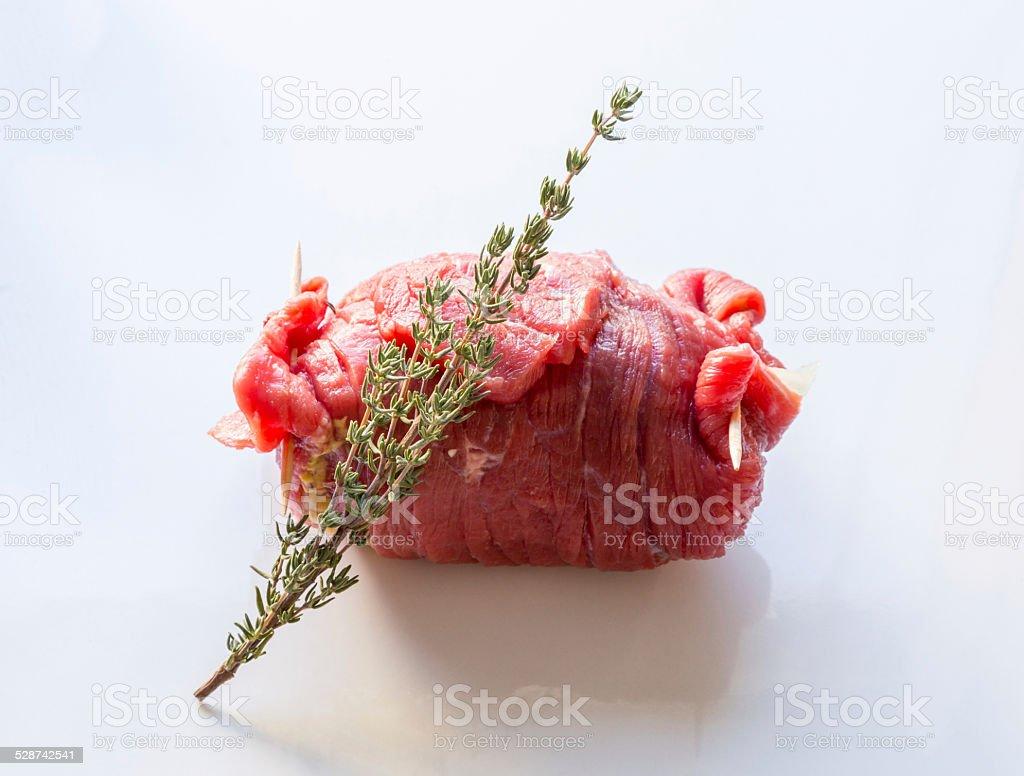roulades de carne são preparados e cozidas - foto de acervo