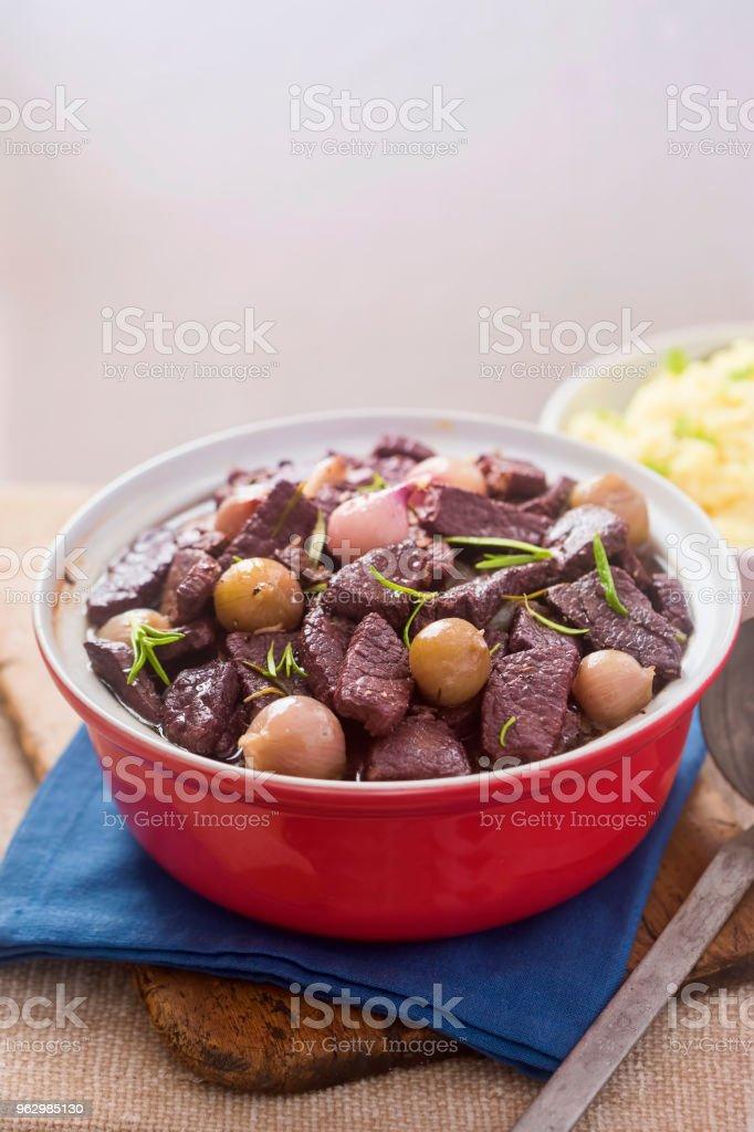 Beef & shallot casserole with potato puree stock photo