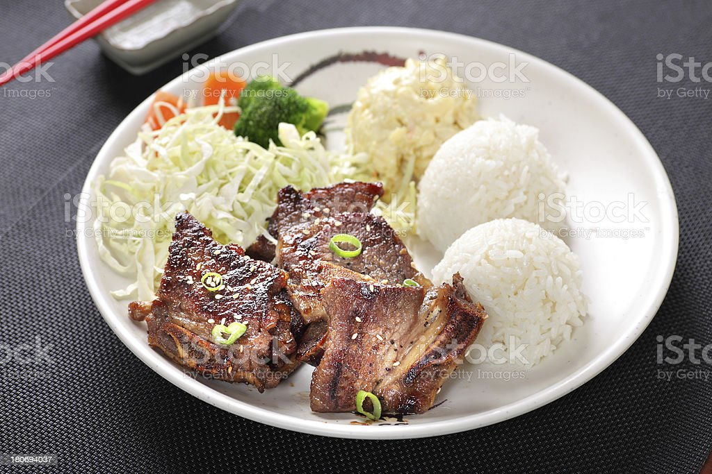 Beef Short Ribs & Rice Combo stock photo
