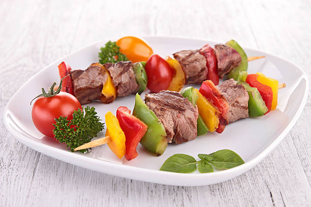 beef skewer stock photo