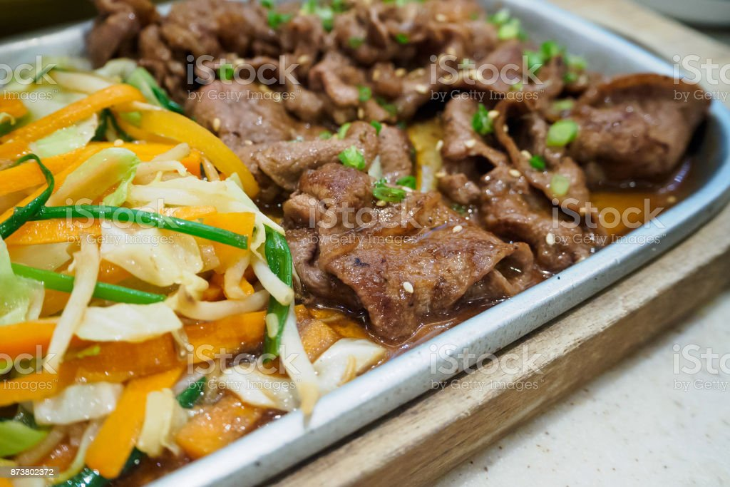 Beef slice with vegetable teppanyaki japanese style stock photo