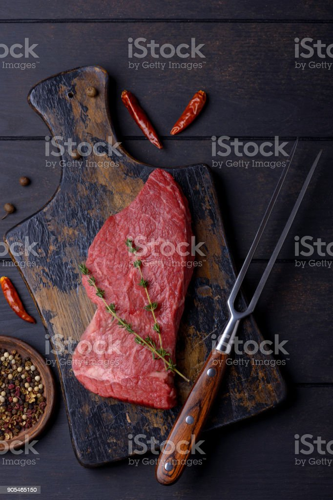 Beef steak and fork stock photo