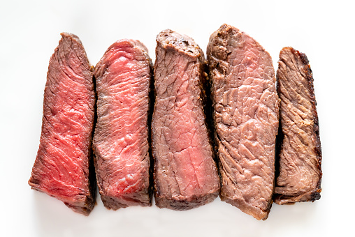 Beef steak: degrees of doneness from rare to well done