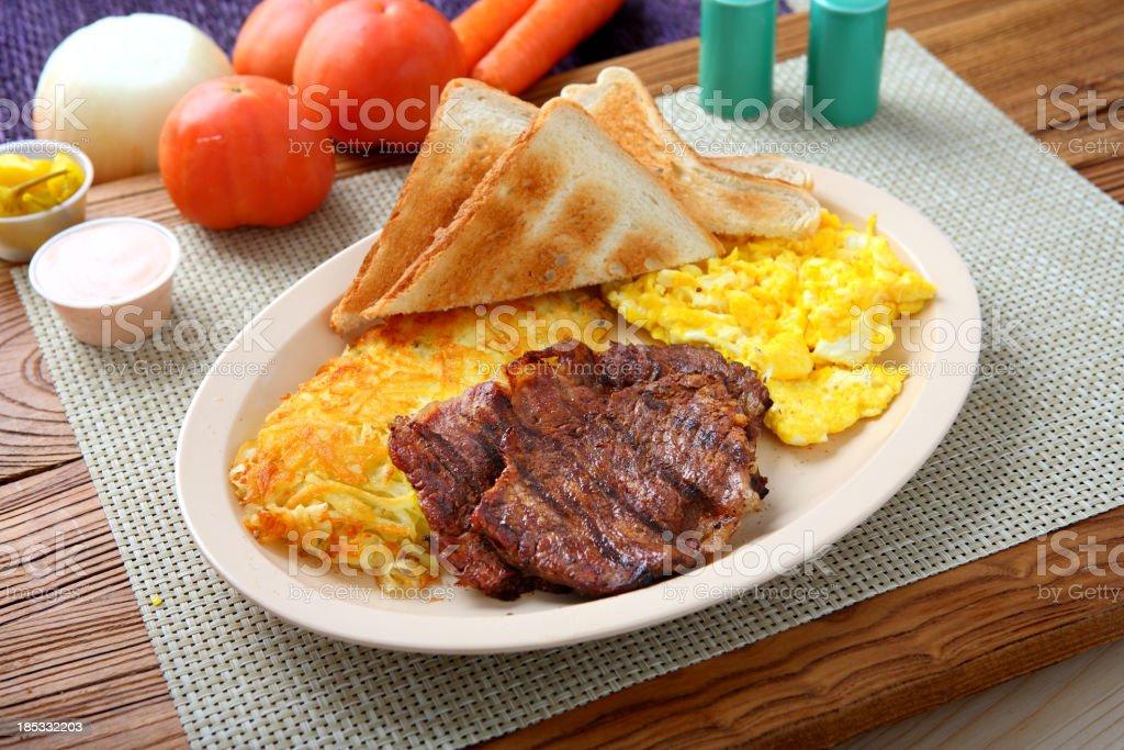 Beef Steak & Egg Breakfast royalty-free stock photo
