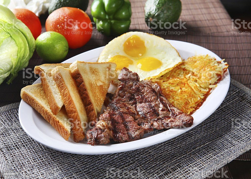 Beef Steak & Egg stock photo