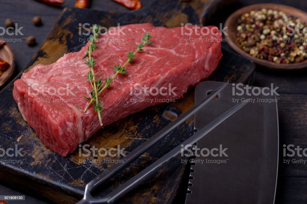 Beef steak meat and thyme stock photo