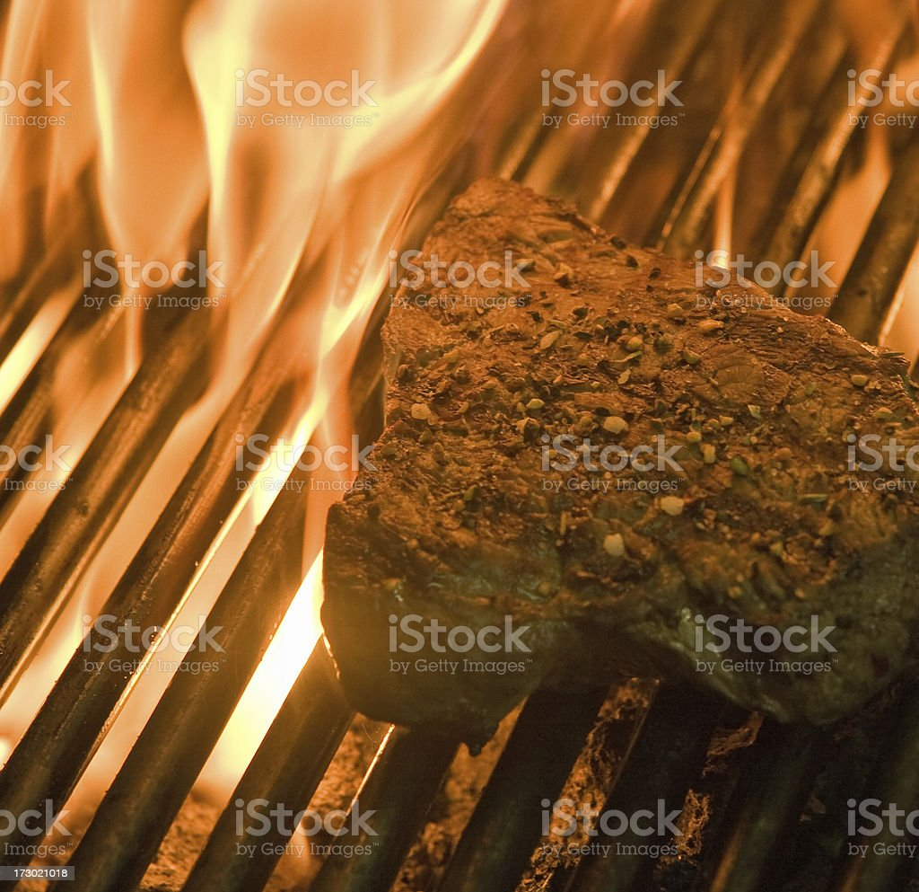 Beef Steak on fire royalty-free stock photo